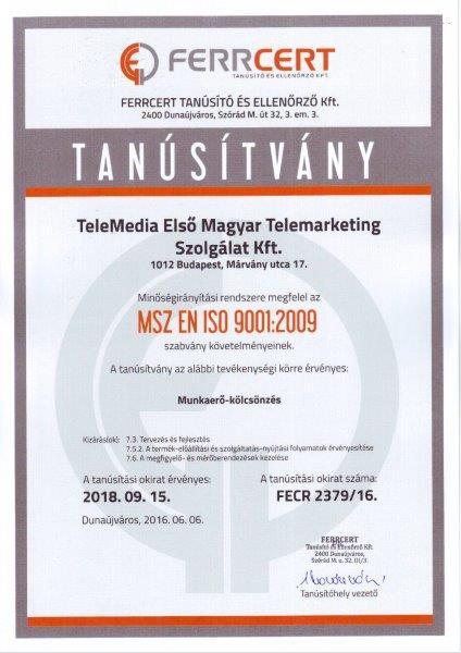 ISO 9001 - auditált minőség